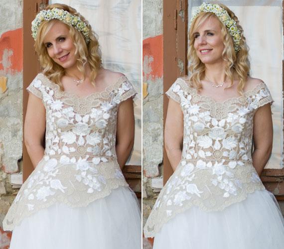 A Hrivnák Tünde által tervezett fehér menyasszonyi ruha a matyó csipkés felsőrész volt.