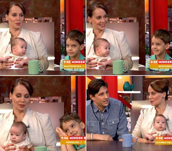 Csisztu Zsuzsa először négy hónaposan mutatta meg kisfiát kamerák előtt, az új jövevénynek a testvére is nagyon örül.