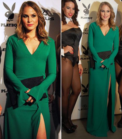 Nagy Alexa  A Barátok közt színésznője egy földig érő, combközépig felsliccelt, zöld ruhában állt a fotósok elé, amelyet Mérő Péter tervezett.