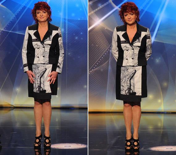 Hernádi Judit egy klasszikus vonalú, hajtott szoknyájú, fekete-fehér kosztümöt viselt, melyet a geometrikus minták tettek különlegessé. Magas sarkú szandálja megérne egy külön misét.