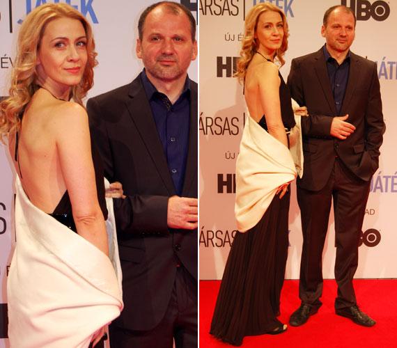 A Juditot játszó Balsai Mónika a filmbeli hűtlen férjét, Ivánt alakító Thuróczy Szabolccsal. A 36 éves színésznő egy, a hátát szabadon hagyó estélyi mellett tette le voksát.
