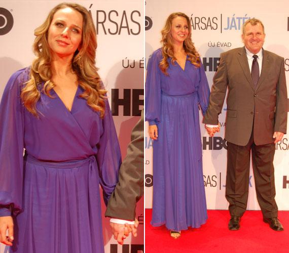 Pokorny Lia filmbeli partnere, az Antalt alakító Gazsó György mellett vonult végig a vörös szőnyegen az Elysian divatház Capri kapszula kollekciójának egyik darabjában.
