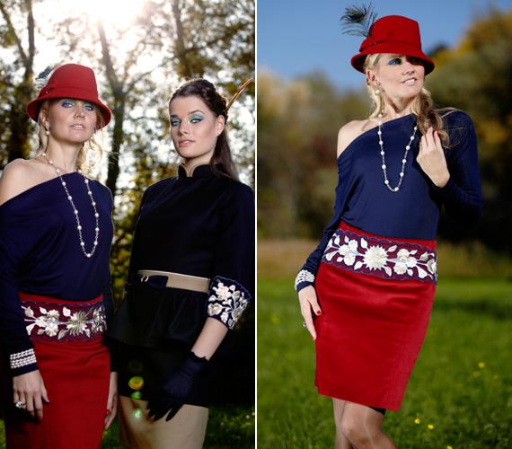 A piros, sötétkék és bézs színek, a kockás minta és a kézi hímzés kombinációja egyszerre teszi a ruhát autentikussá és extravagánssá.