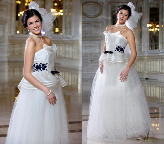 Hogy Pataki Zita milyen ruhában áll majd oltár elé, még nem tudni, de egy lehetőséget a 2012-es Miss Kalocsa, Kármán Dalma bemutatott a Corinthiában.