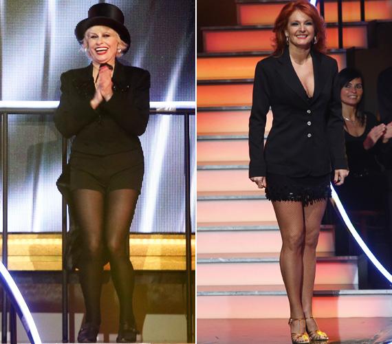 Még a két női zsűritag, Esztergályos Cecília és Keleti Andrea is egy-egy lábát láttatni engedő ruhában lépett színpadra.