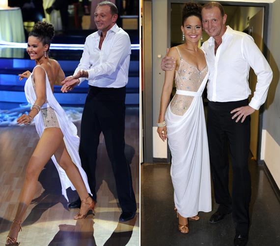 Práger Kitty csillogó táncosdressze fölött csak egy lenge stólát viselt, így tánc közben megcsodálhattuk tökéletes virgácsait.