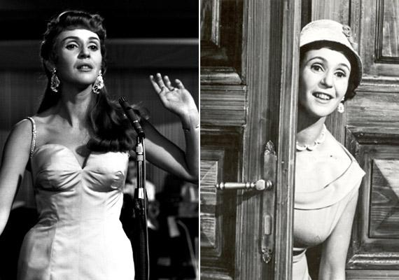 Két kép 1958-ból: a jobb oldali képen Bán Frigyes Csendes otthon című című vígjátékából való. Ekkor volt 29 éves.