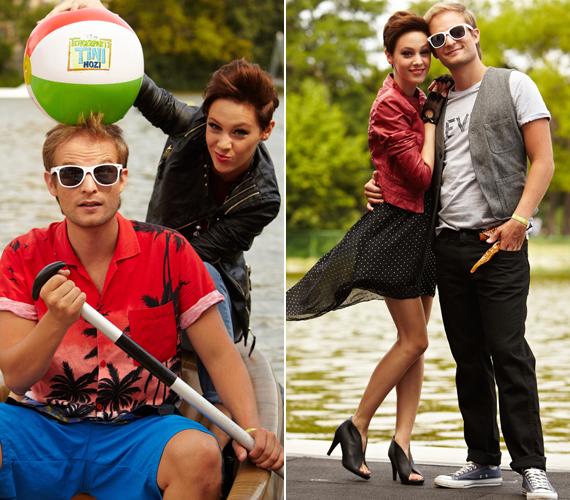 Az új filmben a szörfösök és a rockerek csapnak össze, így természetes volt, hogy Kováts Vera és Puskás Peti is megmutatta magát ilyen szerelésben.
