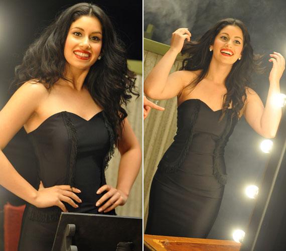 Radics Gigi fekete estélyiben állt a kamerák elé, hogy népszerűsítse a Szimfonik Liv3-at.