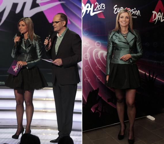 Novodomszky Éva ezúttal a lábait kihangsúlyozó, fekete tüllszoknyát választott, amelyhez egy oliva színű kabátkát húzott.