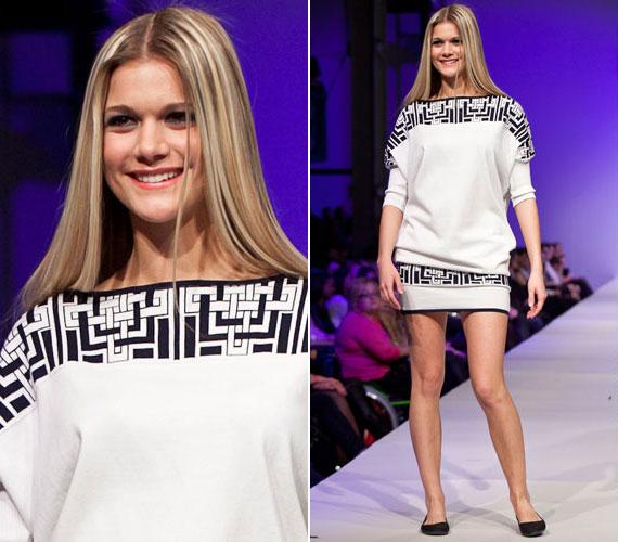 Weisz Fanni is geometriai mintákkal díszített Zoób Kati ruhában volt látható a tavaszi Elle Fashion Show-n, ahol a profi manökenek mellett fogyatékkal élő modellek is kifutóra léptek.