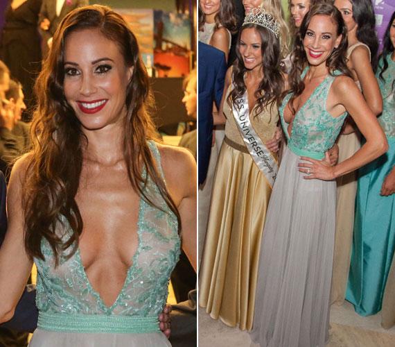 Vajna Tímea a Miss Universe Hungary háziasszonyaként egy köldökig kivágott Zoób Kati estélyiben keltett feltűnést.