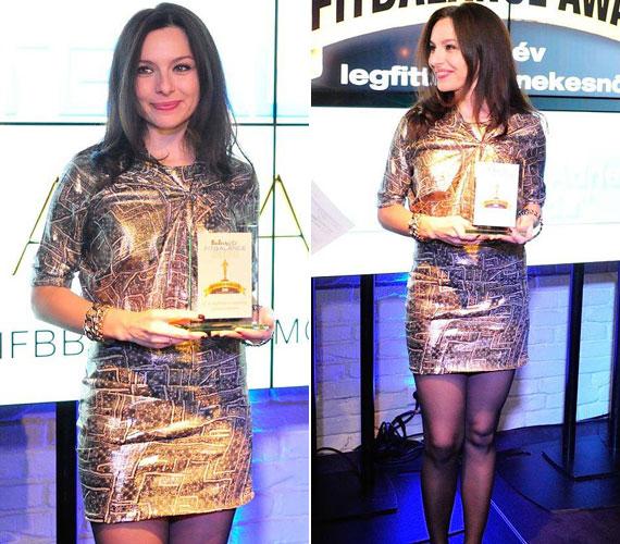 Az év legfittebb énekesnőjének Zsédát választották, aki egy geometriai mintákkal díszített, metál fényű ruhát húzott.