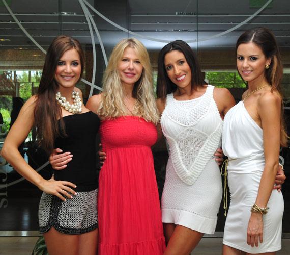 Cserháti Tamara, a tavalyi Miss World Hungary, Rubint Réka, Sütő Enikő és Konkoly Ági, a tavalyi Miss Universe Hungary.