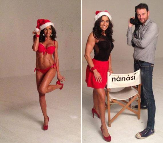 """Tavaly november végén ismét fehérneműre vetkőzött: ezúttal Nánási Pál kamerája előtt változott a rajongói szerint """"szexi Santa Claus girllé""""."""
