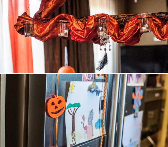 A plafonról alácsüngő díszítés volt az egyik legszebb. A konyhában sütőtököt formázó filc füzérek lógtak a hűtőszekrényről, ami a gyerekek rajzaival és fotóival volt tele.