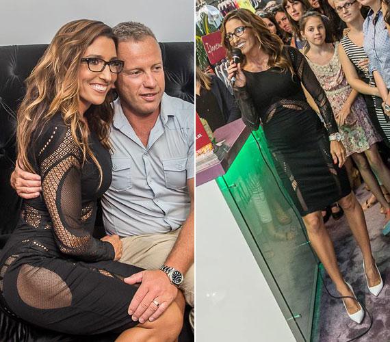 A 37 éves sztár egy fekete, testhezálló, dögös ruhát viselt csütörtök este - Schobert Norbi büszkén fotózkodott csinos feleségével.