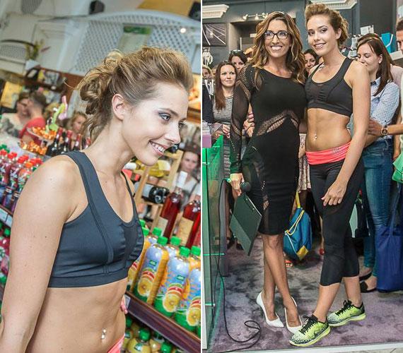 A 18 éves Rubint Rella sportos öltözetben, modellként is vonult a közönség előtt a boltmegnyitón.