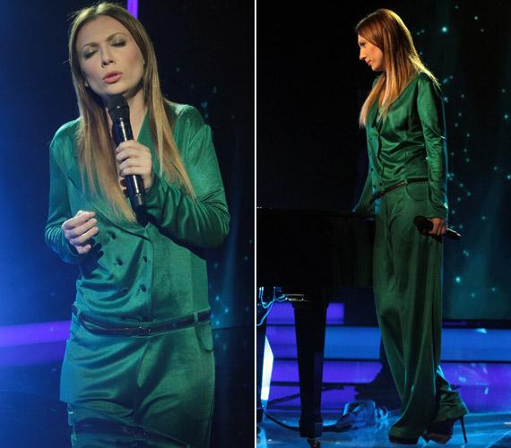 Rúzsa Magdinak nemcsak az előadása volt különleges és egyedi, hanem a ruhája is. A Tamara Barnoff által tervezett smaragdzöld kezeslábas úgy nézett ki, mintha egy nagyobb méretű férfizakót összedolgoztak volna egy bő nadrággal.