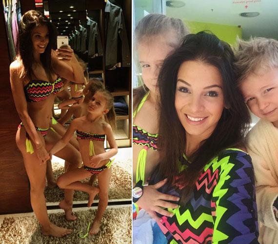 A család a húsvéti hosszú hétvégét egy osztrák üdülőhelyen töltötte, Sarka Kata és Noncsi akkor is az anya-lánya bikinikollekció egy-egy darabjában szelfizett.