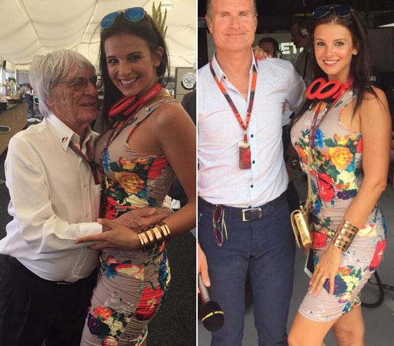 A szűk, virágos ruhában a 30. Magyar Nagydíjon a Hungaroringen David Coulthardot és Bernie Ecclestone-t is lenyűgözte - közös fotójuk alapján úgy tűnt, utóbbi szinte el sem akarta engedni.