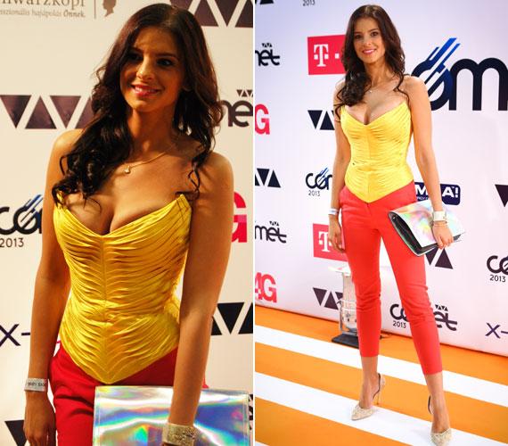 A februári Story-gála után 2013-ban a VIVA Cometen is a melleivel került az újságok címlapjára: a szűk, pink nadrág remekül kiemelte karcsú alakját, de fűzőből már túl szűket választott.