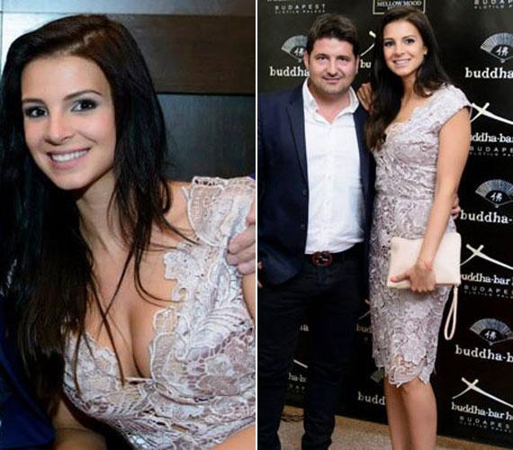 A Miss Universe Hungary afterpartiján egy ezüstszürke csipkeruhában keltett feltűnést. Bár első látásra visszafogottnak tűnt, azért a mély dekoltázs ezúttal sem maradhatott el.