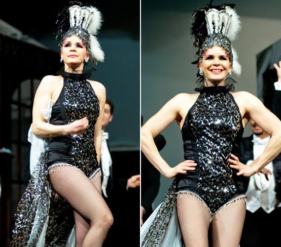 Április 24-én és 25-én játsszák legközelebb a Thália Színházban a Bombaüzlet című darabot, melyben a színésznő egy flitterekkel díszített bodyban és neccharisnyában ropja a táncot, és természetesen dalra is fakad.
