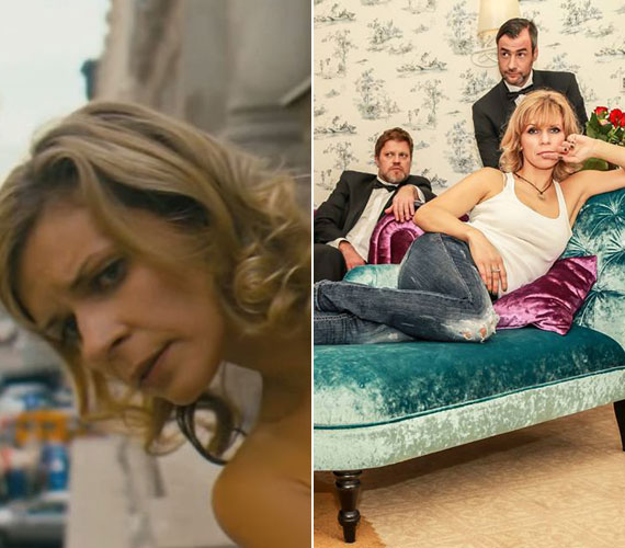 Döbbenet, de mintha tíz éve megállt volna az idő Schell Judit számára. Míg bal oldali fotón a Csak szex és más semmi felejthetetlen erkélyjelenete tárul a szemünk elé, addig a jobb oldali fotó a színésznő legújabb darabjának, a Rövid a póráznak a fotózásán készült. A két kép között eltelt időszakban mintha semmit sem öregedett volna.