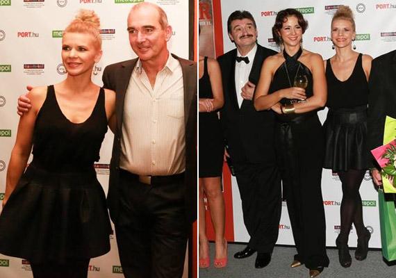 A 41 éves színésznő, aki a premier bulin roppant fiatalos volt rövid bőrszoknyájában, olyan színészekkel szerepel a Thália új darabjában, mint Szervét Tibor vagy Gubás Gabi.
