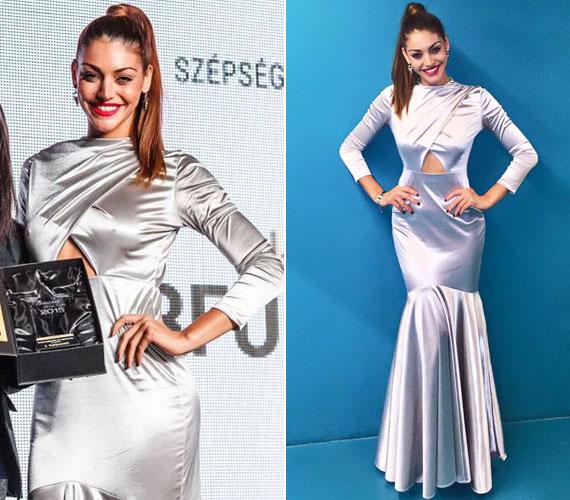 Kulcsár Edina egy estélyi ruhát választott a díjátadóra, ami nem nyerte el a rajongói tetszését, a szépségkirálynőből lett műsorvezető hiába bizonygatta, hogy a kreáció élőben remekül nézett ki - még a fodros alja is.