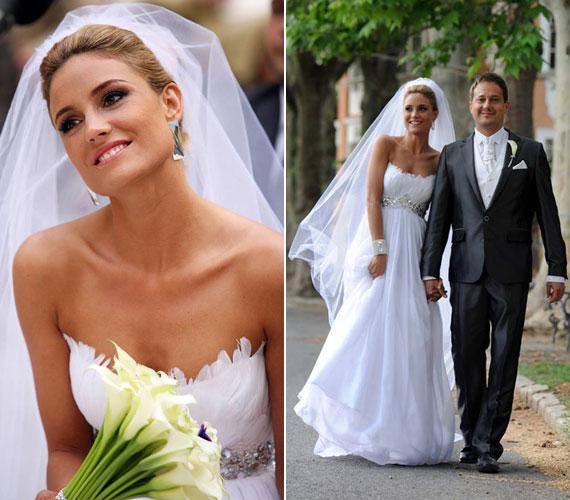 Som-Balogh Edina gyönyörű menyasszony volt a Makány Márta által megálmodott hófehér ruhában.