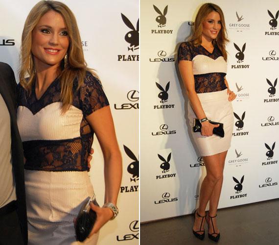 Az áprilisi Playboy-gálán a Meringue Fashion divatmárka saját maga által tervezett darabjában jelent meg. A bőrből, valamint csipkéből készült koktélruha tökéletesen állt karcsú alakján.