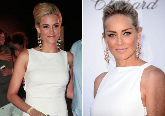 Som-Balogh Edina a 2014-es VIVA Cometen fehér ruhájában, hajviseletével, sminkjével és fülbevalójával nagyon hasonlított Sharon Stone 2013-as amFAR-megjelenéséhez - csak fiatalabb kiadásban. Férje ekkor árulta el, hogy a világsztár szerette volna a Barátok közt Kingáját dublőrének megnyerni.