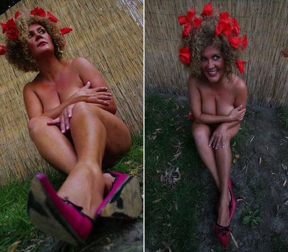 Soma egy szál bugyiban és magas sarkú cipőben ücsörgött a kertben, amikor ezek a jó hangulatú fotók készültek róla.