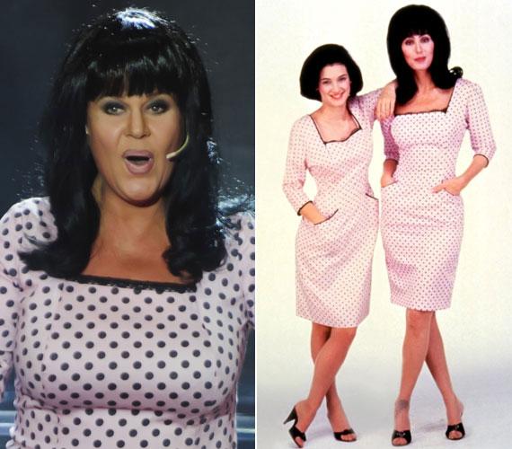 A Sztárban sztár című műsorban Cher bőrébe bújt - bal oldali fotó. A jobb oldalon az amerikai énekesnő látható Winona Ryderrel, akivel a Sellők című filmben játszott együtt. Annak egyik betétdala volt a The Shoop Shoop Song.