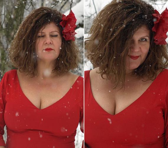 A hóesésben egy mélyen kivágott ruhában, vörös rúzzsal igazi bombázó a teltkarcsú műsorvezető.