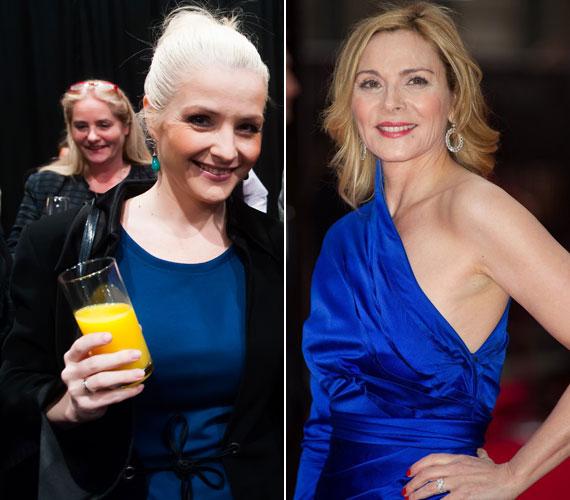 Létay Dóra, Samantha Jones magyar szinkronhangja a Bombaüzlet március végi díszbemutatóján a Thália Színházban és a karakter megformálója, Kim Cattrall április végén a The Laurence Olivier Awards-on Londonban.