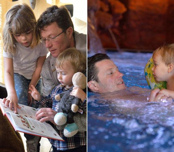 - A kicsi fiam, aki még nincs kétéves, nagy meglepetésünkre ki sem akart jönni a barlangfürdőből. Nem gondoltuk, hogy ennyire fogja élvezni a vizet. Nem félt semmitől - büszkélkedett a kis Andrissal a színész.