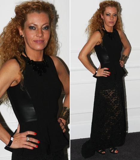 Tölgyesi-Khell Cynthia  Hujber Feri felesége saját maga által tervezett ruhában érkezett az eseményre. Igazán dögös hatást keltett a bőr és a csipke kombinációja.