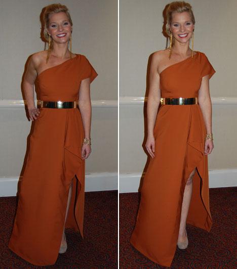 Lilu  Lilu, a Való Világ 5 műsorvezetőnőjének ruháját a görög tógák ihlették. A szolid barnás színt egy arany övvel dobta fel.