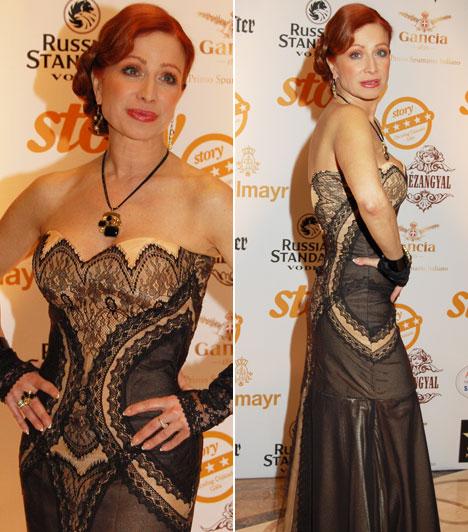 Détár EnikőA színésznő idén egy bézs alapon, fekete csipkével díszített estélyi mellett tette le a voksát.