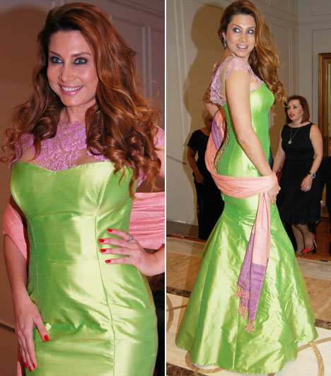 Horváth ÉvaA VIASAT3 műsorvezetője egy világoszöld, lila csipkével díszített estélyi ruhában jelent meg, amelyet Makány Márta álmodott meg.
