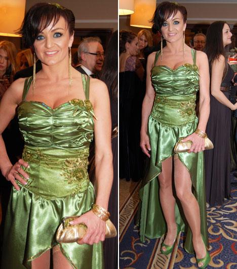 SzandiAz énekesnő idén is egy Szedlacsek Annamária által tervezett ruhában érkezett a gálára. A zöld, merészen felsliccelt estélyiben nem volt kevésbé feltűnő jelenség, mint tavaly.