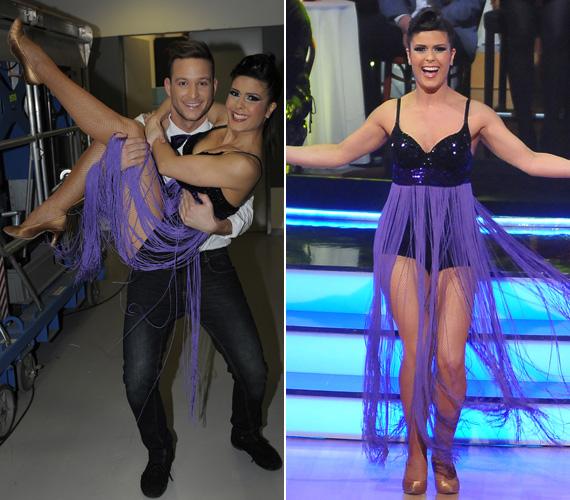 A quickstephez viselt fekete minijét lila szalagszoknya tette még izgalmasabbá, mely a zsűri szerint gyönyörűen követte a táncosnő dinamikus mozgását.