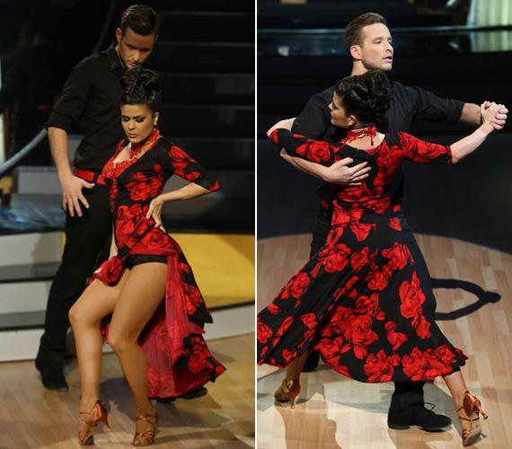A harmadik adásban tangót táncolt Istenes Bencével, amihez jól illett a szenvedélyt jelképező vörös rózsákkal díszített, fekete ruha.