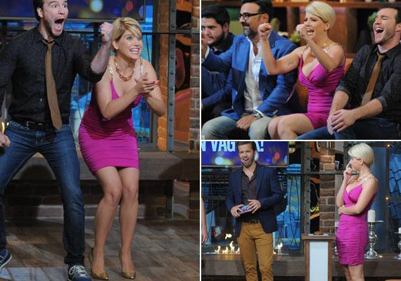 Elképzelhető, hogy Szabó Zsófi az RTL Klub Gyertek át szombat este! című szórakoztató vetélkedőjét forgatta, amelyben már láthattuk egy hasonlóan szexi, pink, testhezálló darabban.