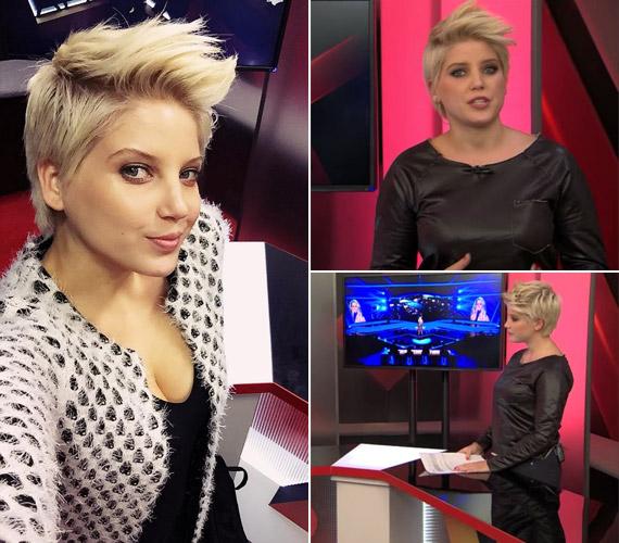 Két héttel ezelőtt is a dekoltázsára szegeződött a figyelem a műsora előtt, de akkor a stylistja valamilyen okból egy, az alakját nem megmutató bőrruhában állította a kamerák elé.