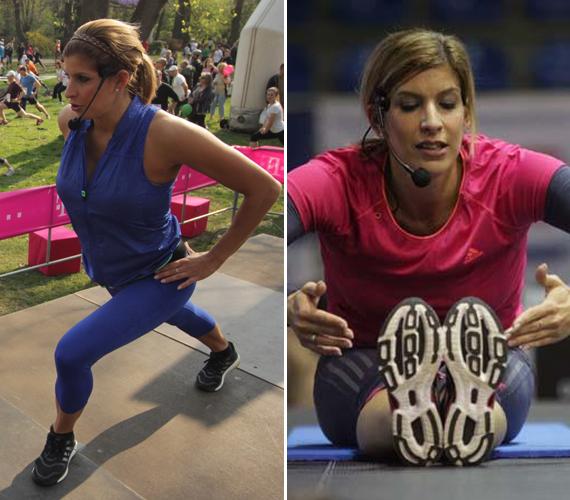 Béres Alexandra jókedvűen, színes ruhákban tart edzést egyszerre több száz embernek.