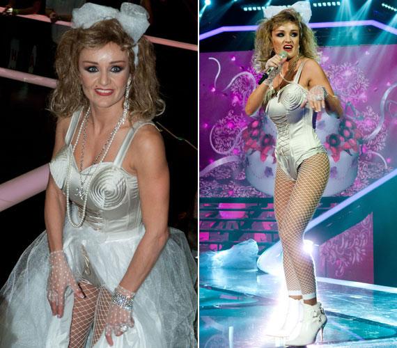 Madonna annak idején nagy botrányt kavart azzal a fűzővel, aminek tölcsér alakú volt a mellrésze. Szandi hasonló kreációban állt színpadra a Sztárban sztár című műsorban. További képek itt »